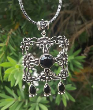 Statement pendant - silver and onyx