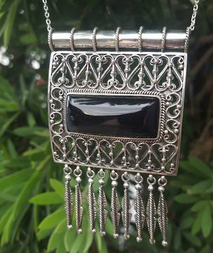 Large black onyx silver pendant with filigree
