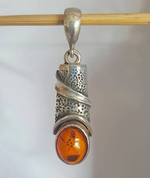 Silver amber pendant - now on sale