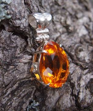 Sterling silver large citrine pendant