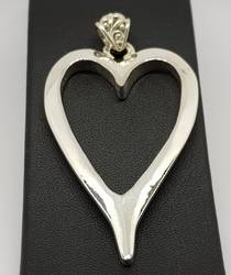 Large sterling silver heart pendant - made in New Zealand