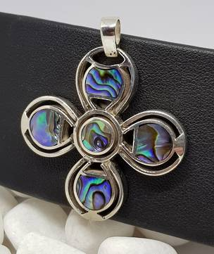 NZ Paua Shell Silver Flower Pendant