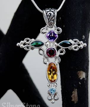 Multi Gemstone Silver Cross Pendant