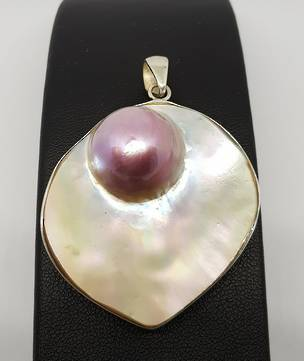 Sterling silver mother of pearl pendant with pink mabe pearl