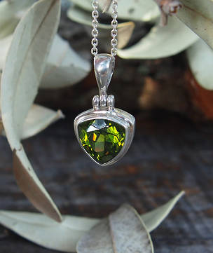 Silver peridot pendant, triangle, gorgeous deep green