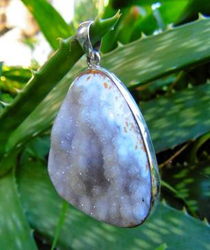 Large crystal pendant set in sterling silver