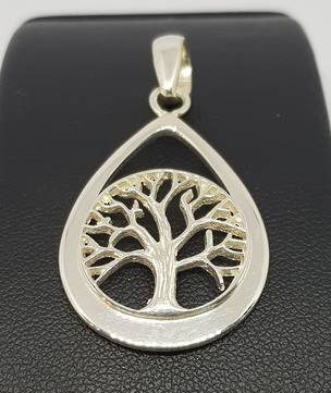 Silver teardrop pendant with tree of life
