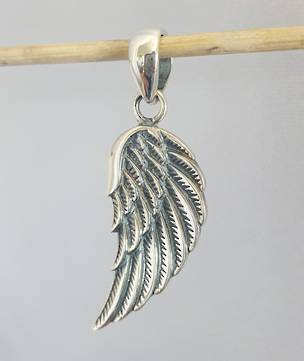 Solid sterling silver angel wing pendant