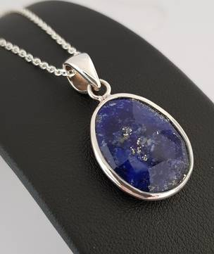 Faceted oval lapis lazuli  silver pendant