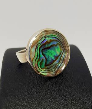 Large Round Paua Shell Silver Ring