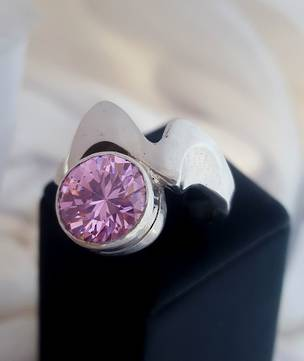 Sparkling pink gemstone ring