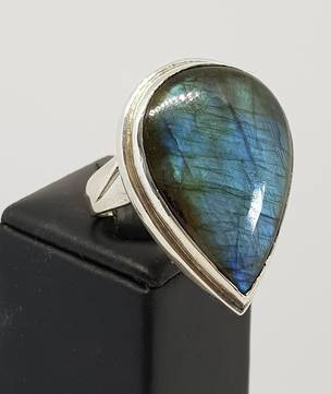 Extra large labradorite sterling silver ring