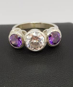925 silver ring with clear and purple CZ's