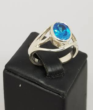 Sterling silver blue topaz ring - made in NZ