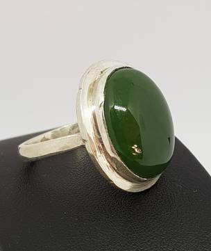 Sterling silver natural NZ greenstone ring