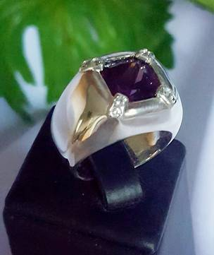 Large square purple stone ring, offset with cz - now on sale!