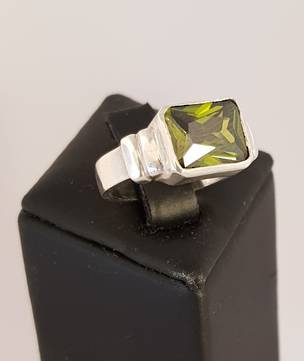 Sterling silver green gemstone ring, rectangle shape