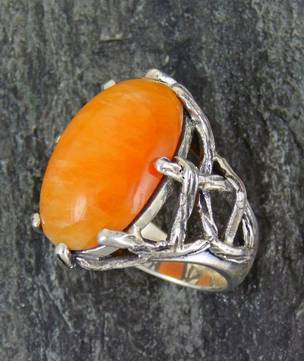 One off, designer ring with natural cabochon citrine
