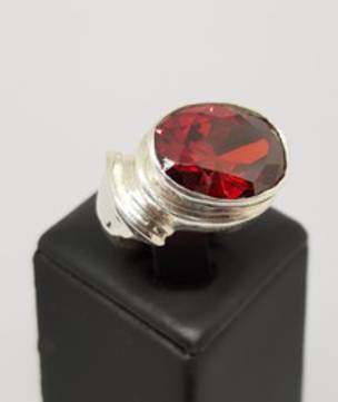 Silver ring with large oval garnet gemstone - made in NZ