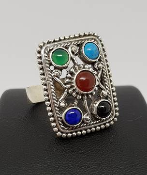 Gemstone ring with turquoise, carnelian, lapis and more