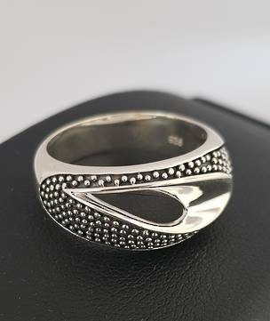 Sterling silver ring with open wave at the top