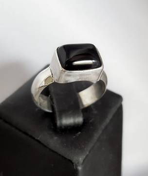 Rectangle black onyx silver ring