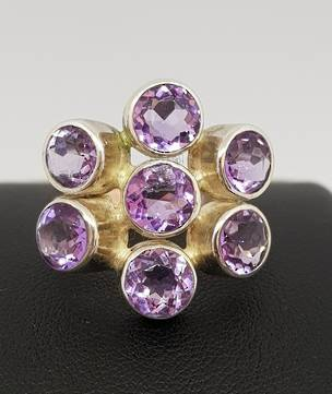 Sterling silver amethyst ring - with seven stones