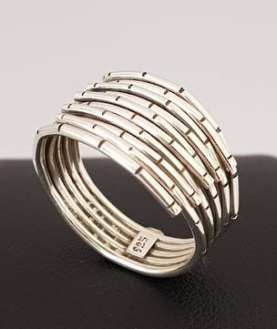 Sterling silver multi ring band bamboo pattern