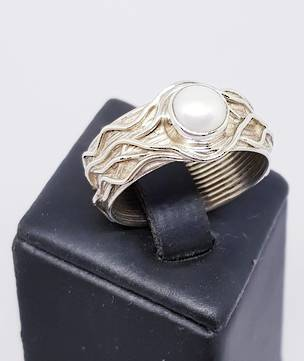 Sterling silver white pearl ring with a wide detailed band