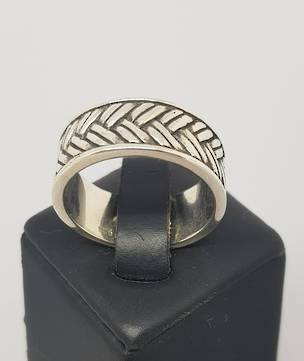 Sterling silver wide band ring with basket weave pattern