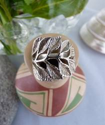 Sterling silver carved leaf ring