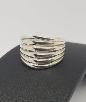 Wide split band ring, sterling silver with tapered band