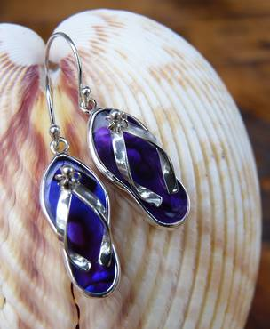 Silver Paua Shell Jandal Earrings - dyed purple!