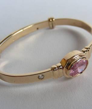 Solid Gold Birthstone Baby Bracelet