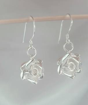 Silver rose earrings, romantic, enduring, delightful