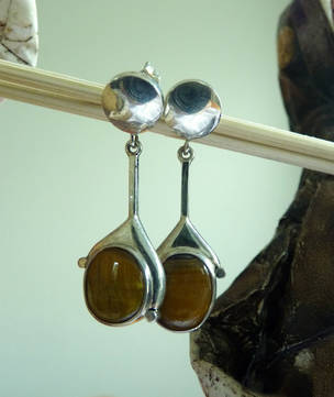 Silver tigers eye earrings