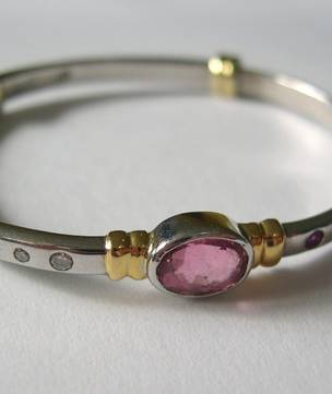 Solid gold baby birthstone bangles