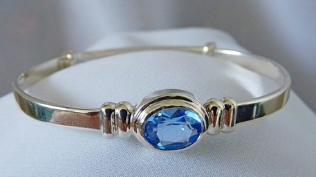 Blue topaz December baby bangle