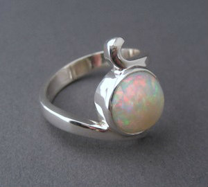custom made silver opal ring