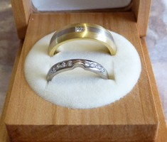 handmade his and hers yellow and whote gold wedding band rings