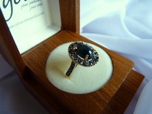 star sapphire and sapphire cluster ring SilverStone Jewellery 1
