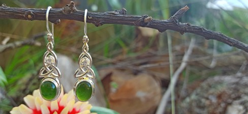 NZ silver greenstone earrings SSJ