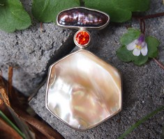 mother of pearl and gemstone pendant