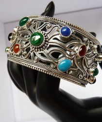 B005 wide silver cuff gemstones