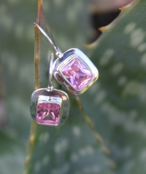 EP277 pink framed silver earrings