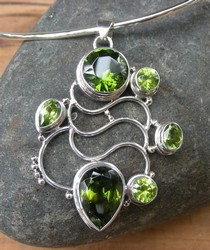 Silver pendants necklaces be different be you pp017p large silver green peridot pendant aloadofball Gallery