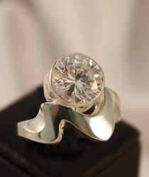 R200 clear cz sterling silver ring