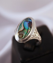 RP168 sterling silver paua shell ring