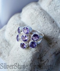 RP227 sterling silver multi amethyst ring