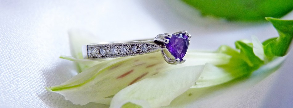 amethyst heart engagement ring